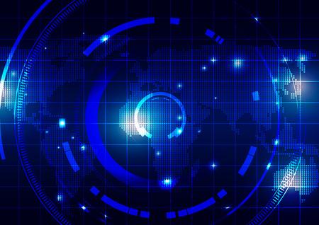 World Map with Technology Dark Blue Background, Vector Illustration Vetores