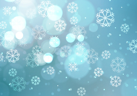 Abstract Lights with Snowflakes on Blue Background, Vector Illustration Ilustração