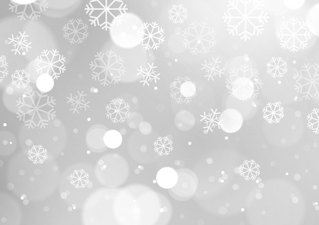 Abstract Lights with Snowflakes on Grey Background, Vector Illustration
