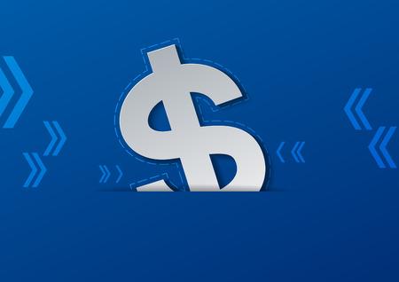 Signe dollar découpé dans du papier blanc sur fond bleu, Illustration vectorielle Vecteurs