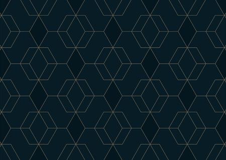 Motivo geometrico astratto con linee su sfondo blu scuro, illustrazione vettoriale Vettoriali