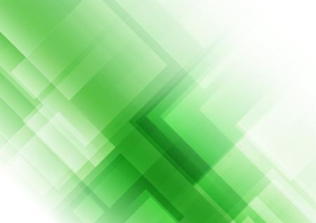 Formas cuadradas abstractas sobre fondo verde, ilustración vectorial