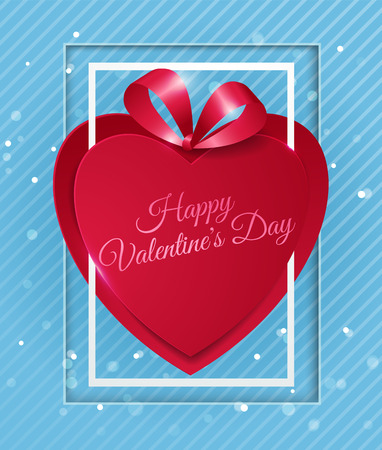 Happy Valentines Day with Red Paper Heart on Light Blue Background, Vector Illustration Stock Illustratie