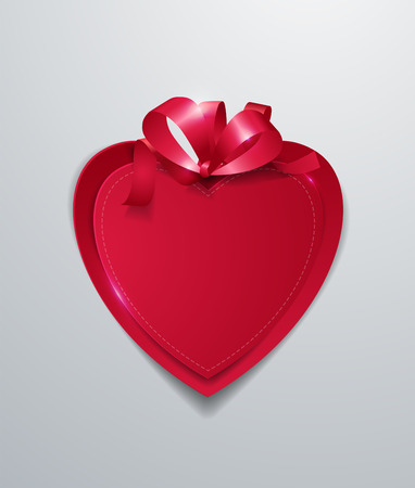 Red Paper Heart with Ribbon on White Background, Vector Illustration