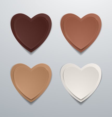 Coloured paper hearts set. Collection of hearts, Vector illustration