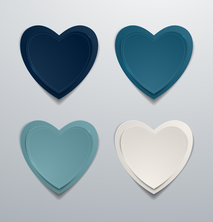Blue paper hearts set. Collection of hearts, Vector illustration