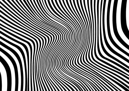 Abstrakter verzerrter schwarzer und weißer Hintergrund, Vektorillustration Vektorgrafik
