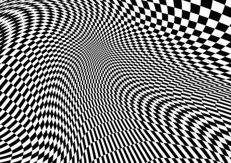 Abstract distorted Chess black and white Background, Vector illustration Ilustrace