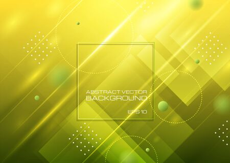 Abstract geometric shapes on yellow green background, Vector illustration