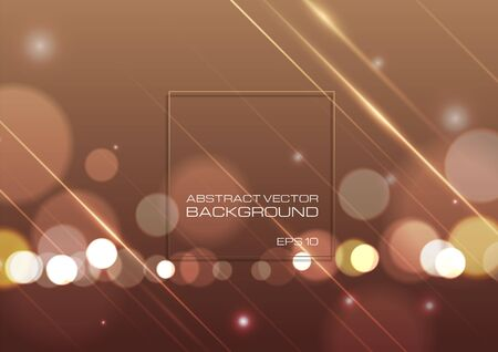 Abstract bokeh light on brown background. Vector