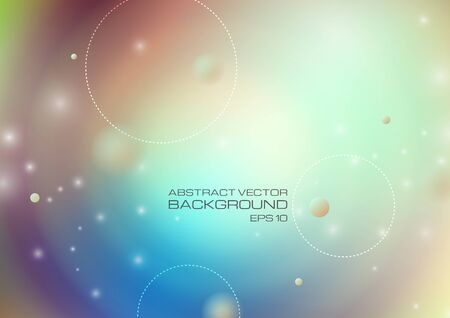 Abstract circles with lighting on blurred colors background. Vector