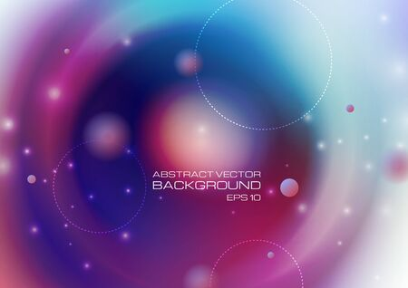 Abstract circles with lighting on blurred colors background. Vector Eps10