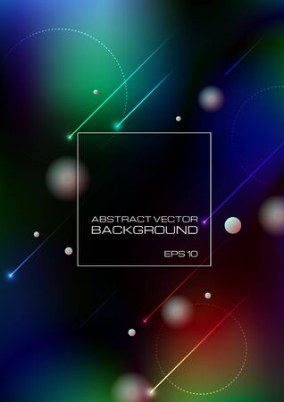 Abstract lines and circles on blurred colors background. Vector Eps10