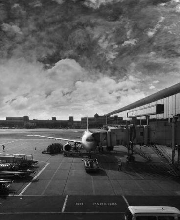 grey scale: AIRPLANE DOCKING