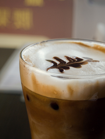 COLOR PHOTO OF ICED CAPPUCCINO WITH LATTE ART