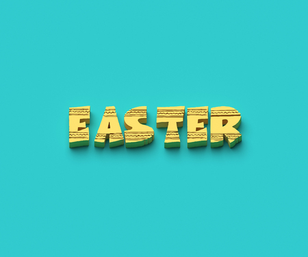 3D WORDS OF EASTER ON PLAIN BACKGROUND