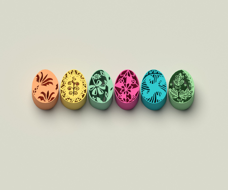 3D EXTRUDED EASTER EGGS ON PLAIN BACKGROUND