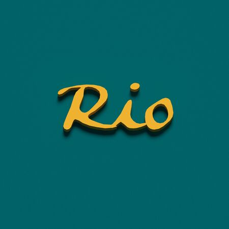 COLOR PHOTO OF 3D RENDERING WORDS RIO ON PLAIN BACKGROUND