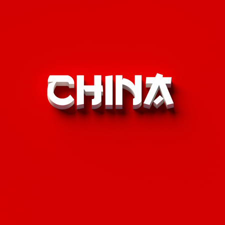 3D RENDERING WORDS CHINA ON PLAIN BACKGROUND