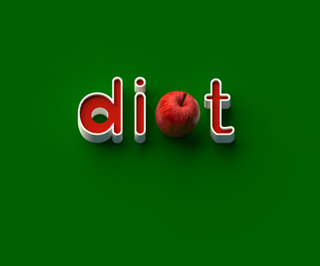 3D RENDERING OF WORDS di, AN APPLE AND t ON PLAIN BACKGROUND