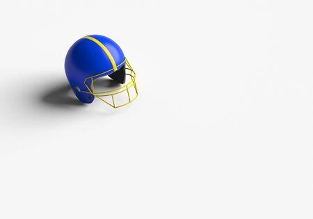 3D RENDERING OF FOOTBALL HELMET ON WHITE PLAIN BACKGROUND Stock Photo
