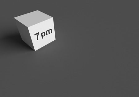 3D RENDERING WORDS 7 pm ON WHITE CUBE, STOCK PHOTO Фото со стока