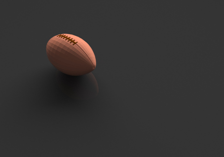 3D RENDERING OF RUGBY BALL ON BLACK PLAIN BACKGROUND