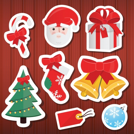 Christmas Paper Icons Set Wooden