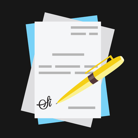 autographing: Documents With Pen and Signature Icon Illustration