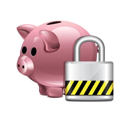 pig iron: Vector Piggy Moneybox With Padlock