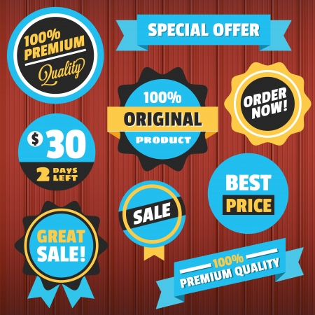 Set of Vector Badges Stickers and Ribbons on Wooden Background