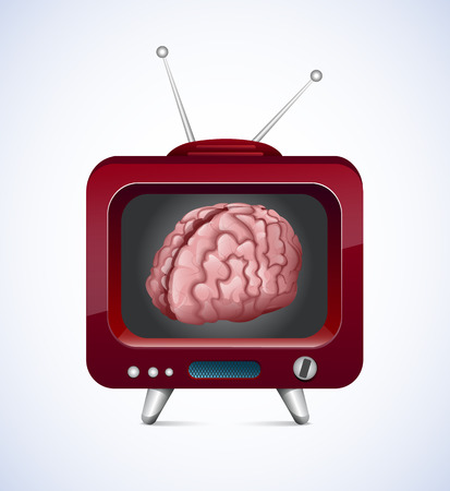 communicatio: Old TV With Brain Inside  Illustration