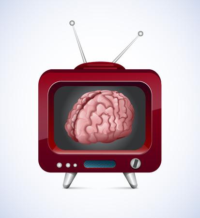 communicatio: Old TV With Brain Inside  Illustration