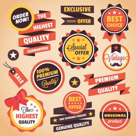 order now: Set of Vector Vintage Badges Stickers Banners and Labels Illustration