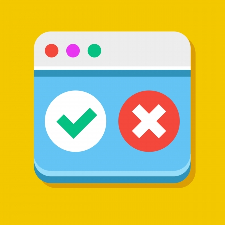 accept icon: Vector Browser Accept Decline Icon Illustration