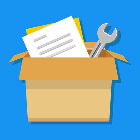 Vector Carton Box with Tools and Documents Icon  Vector