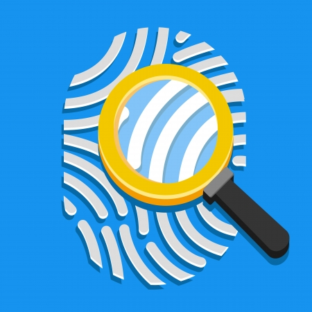 Vector Fingerprint and Magnifying Glass Icon