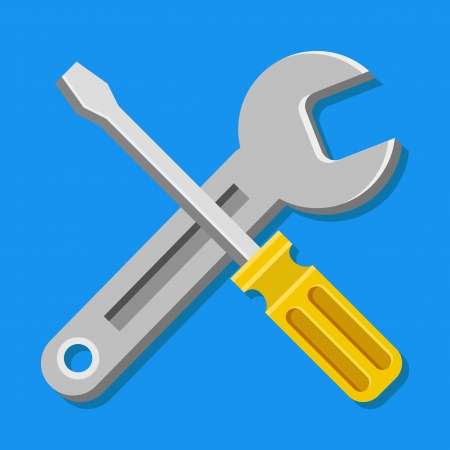 hand wrench: Vector Wrench and Screwdriver Icon
