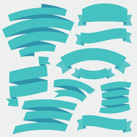 Vector Blue Ribbons  Set 2  Illustration