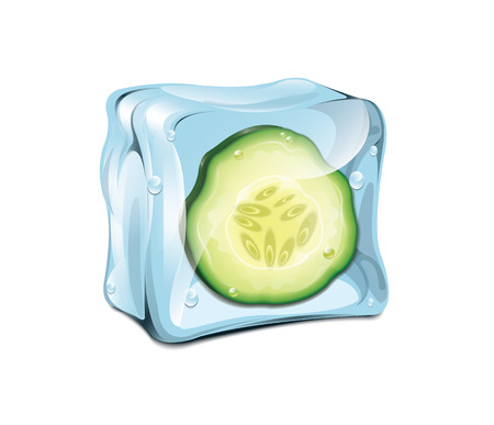 ice surface: Ice Cube With Cucumber