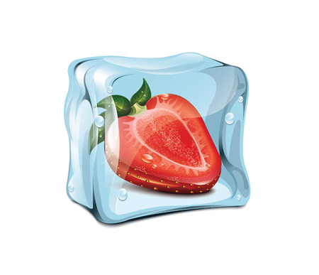 ice cubes: Ice Cube With Strawberries Illustration