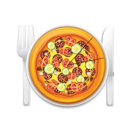 Pizza On A Plate Vector