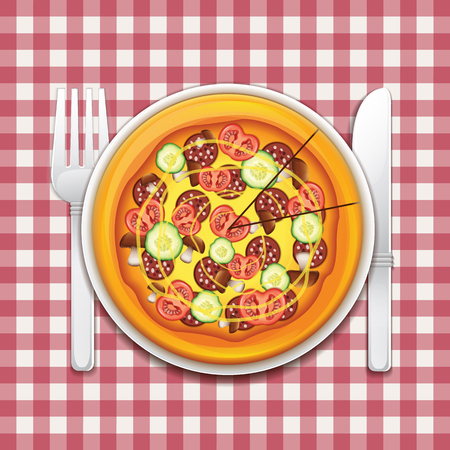 Pizza On A Tablecloth Vector