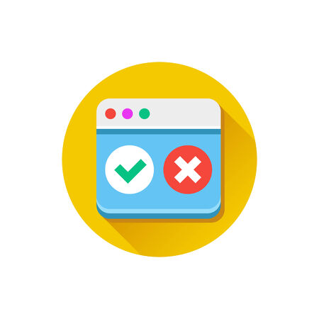 accept: Vector Browser Accept Decline Icon Illustration