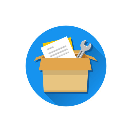 Vector Carton Box with Tools and Documents Icon