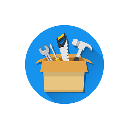long recovery: Vector Carton Box with Working Tools Icon Illustration