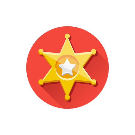 Vector Golden Sheriff Star Icon Vector