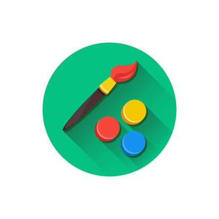Vector Paint Brush and Color Palette Icon Vector