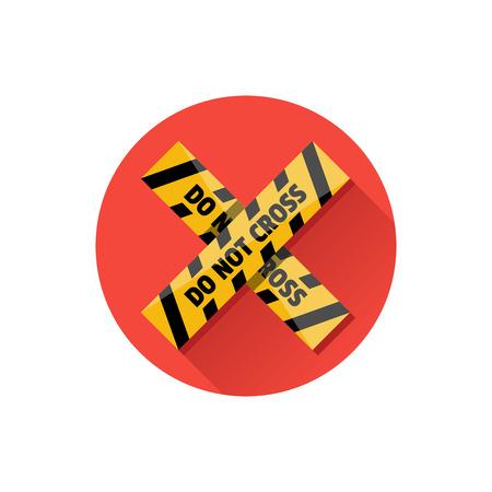 Vector Police Line Do Not Cross Icon Vector
