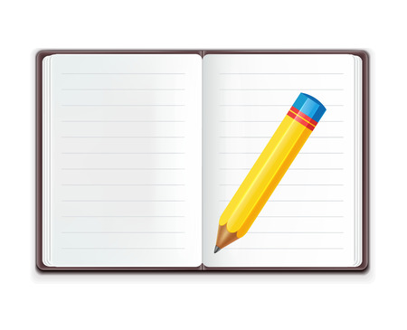 moleskin: Realistic Open Notebook with Pencil  Illustration